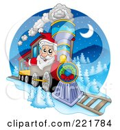 Royalty Free RF Clipart Illustration Of Santa Driving A Train On Christmas Eve
