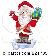Royalty Free RF Clipart Illustration Of Santa Standing On Ice And Holding A Gift