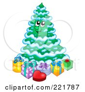 Royalty Free RF Clipart Illustration Of A Christmas Tree Character With Gift Boxes 4