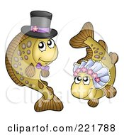 Royalty Free RF Clipart Illustration Of A Carp Fish Bride And Groom