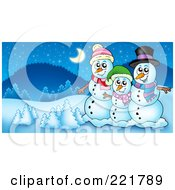 Christmas Snowman Family In A Winter Landscape