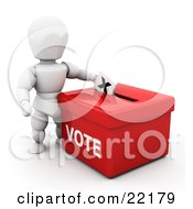 Clipart Picture Of A White Person Standing Over A Red Ballot Box And Casting Their Vote