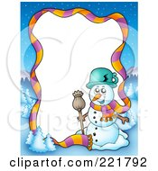 Royalty Free RF Clipart Illustration Of A Christmas Frame Border Of A Scarf Winter Landscape And Snowman Around White Space