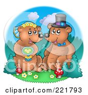 Royalty Free RF Clipart Illustration Of A Bear Wedding Couple By A Forest