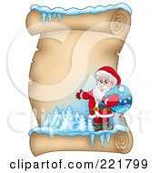 Royalty Free RF Clipart Illustration Of Santa With A Sack On An Icy Parchment Scroll Page