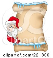 Royalty Free RF Clipart Illustration Of Santa Looking Around An Icy Parchment Scroll Page