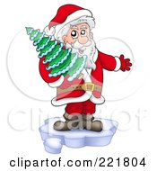Royalty Free RF Clipart Illustration Of Santa Standing On Ice And Holding A Tree