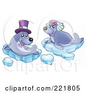 Royalty Free RF Clipart Illustration Of A Seal Wedding Couple With Ice