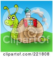 Royalty Free RF Clipart Illustration Of A Cute Snail With A House Shell by visekart