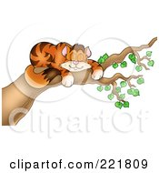 Royalty Free RF Clipart Illustration Of A Happy Orange Cat Sleeping In A Tree