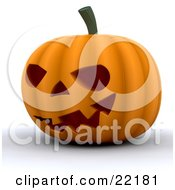 Clipart Picture Of An Illuminated Halloween Pumpkin Carved With An Evil Grin With Teeth