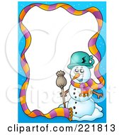 Royalty Free RF Clipart Illustration Of A Christmas Frame Border Of A Scarf And Snowman Around White Space