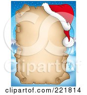 Royalty Free RF Clipart Illustration Of An Aged Christmas Parchment Sign With A Santa Hat Over A Winter Landscape