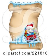 Royalty Free RF Clipart Illustration Of Santa Driving A Car On An Icy Parchment Scroll Page