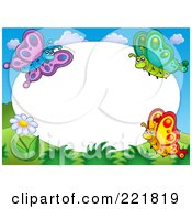 Royalty Free RF Clipart Illustration Of A Border Of A Flower And Three Butterflies Around White Oval Space