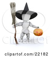 White Character Wearing A Black Witch Hat And Carrying A Broomstick And A Carved Halloween Pumpkin Lantern