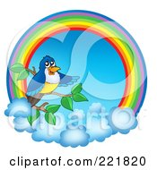 Royalty Free RF Clipart Illustration Of A Bird On A Branch With A Rainbow Circle