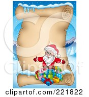 Royalty Free RF Clipart Illustration Of Santa With Gifts On A Blank Aged Parchment Sign