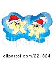 Royalty Free RF Clipart Illustration Of Two Glowing Christmas Stars With Santa Hats In The Sky