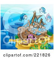 Royalty Free RF Clipart Illustration Of Three Fish And An Octopus By A Sunken Ship