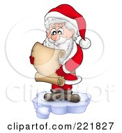 Royalty Free RF Clipart Illustration Of Santa Standing On Ice And Reading A List