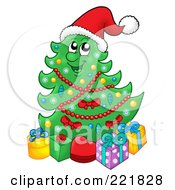 Royalty Free RF Clipart Illustration Of A Christmas Tree Character With Gift Boxes 2