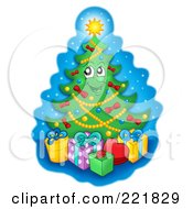 Royalty Free RF Clipart Illustration Of A Christmas Tree Character With Gift Boxes 3