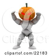 Scary White Character With A Carved Jackolantern Pumpkin Head With A Ferocious Face Walking Around On Halloween And Scaring Children