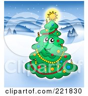Royalty Free RF Clipart Illustration Of A Happy Christmas Tree Character With A Glowing Star In A Winter Landscape
