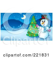 Royalty Free RF Clipart Illustration Of A Christmas Snowman Decorating A Tree In A Winter Landscape