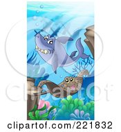 Royalty Free RF Clipart Illustration Of A Shark And Sting Ray Swimming By A Sunken Ship