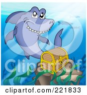 Royalty Free RF Clipart Illustration Of A Shark Swimming By A Sunken Treasure