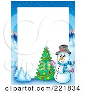 Royalty Free RF Clipart Illustration Of A Christmas Frame Border Of A Winter Landscape And Snowman Decorating A Tree Around White Space