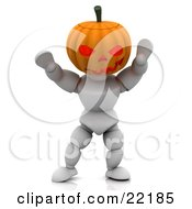 Clipart Picture Of A White Character With A Carved Jackolantern Pumpkin Head Walking Around With His Arms Up On Halloween And Scaring Children by KJ Pargeter