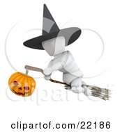 White Character Wearing A Black Witch Hat And Flying Through The Sky On A Broomstick Illuminated With A Jack O Lantern Pumpkin On Halloween