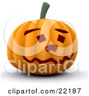 Goofy And Friendly Carved Orange Halloween Pumpkin With A Wavy Mouth Eyebrows And Square Eyes