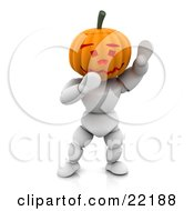 Clipart Picture Of A Funny White Character With A Carved Jackolantern Pumpkin Head With A Friendly Expression Walking Around On Halloween And Waving