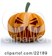Evil Orange Halloween Pumpkin With A Scary Toothy Jack O Lantern Face