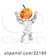 Clipart Picture Of A White Character With A Carved Jackolantern Pumpkin Head With A Toothy Smile Walking Around On Halloween And Scaring Children by KJ Pargeter