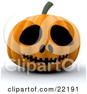 Clipart Picture Of A Spooky Orange Carved Halloween Pumpkin With Big Eyes Nostrils And A Sewn Mouth by KJ Pargeter