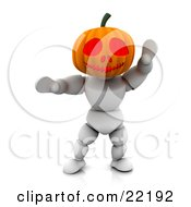Clipart Picture Of A White Character With A Carved Jackolantern Pumpkin Head With Big Eyes Walking Around On Halloween And Scaring Children by KJ Pargeter