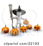 Clipart Picture Of A White Character Wearing A Black Witch Hat And Carrying A Broomstick Standing With Carved Halloween Pumpkins by KJ Pargeter