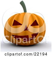 Clipart Picture Of An Illuminated Orange Carved Halloween Pumpkin With Two Teeth