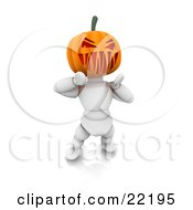 Clipart Picture Of A White Character With A Carved Jackolantern Pumpkin Head Walking Around On Halloween And Scaring Children