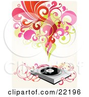 Clipart Picture Of A Group Of Red Pink Green And Orange Scrolls Circles And Flowers Above A Record Music Player With Pink Floral Vines by OnFocusMedia