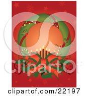 Clipart Picture Of A Green Christmas Wreath Adorned With Red Ribbons Holly And Jingle Bells Displayed Around A Big Bow With Candy Canes And Candles With A Red Snowflake Background by OnFocusMedia