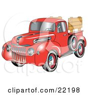 Clipart Illustration Of A Red 1945 Ford Pickup Truck With A Spacfe Tire On The Side And Chrome Accents Red Wall Tires And Wooden Panels Along The Truck Bed