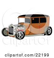 Clipart Illustration Of A Rust Brown Vintage Rat Rod Car With A Black Roof Red Accents And Chrome Wheels