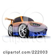 Royalty Free RF Clipart Illustration Of A 3d Drifter Car With A Chameleon Paint Job And High Spoiler 1 by KJ Pargeter