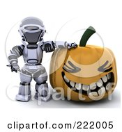 Royalty Free RF Clipart Illustration Of A 3d Robot Leaning On A Halloween Pumpkin